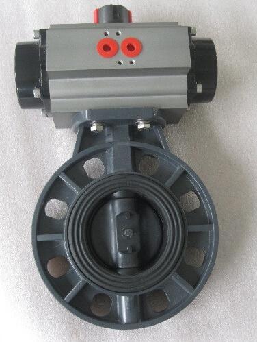 pn6/10kg; 适用于腐蚀性液体,气体等介质; 气动塑料蝶阀气动pvc蝶阀图片