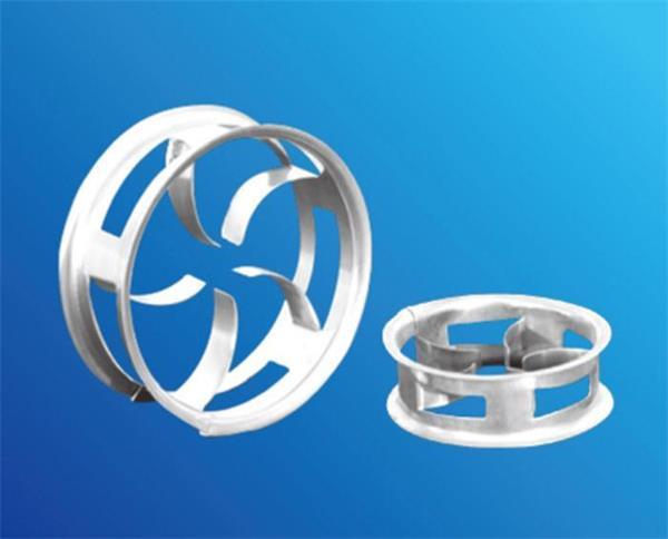 填料,它在结构上吸取鲍尔环的优点,克服其缺点,并进行了改进;阶梯环的