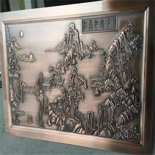 加工蚀刻花纹铜板-镀古铜铝板-雕刻山水铝板
