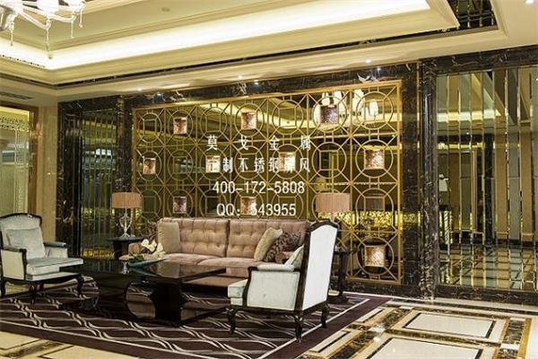 酒店中式古典不锈钢屏风背景 前台古典不锈钢装饰屏风图片