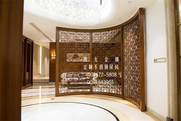 酒店中式古典不锈钢屏风背景 前台古典不锈钢装饰屏风