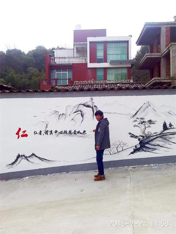 江西上饶新农村建设文化墙,工程壁画,墙绘设计,洒店壁画