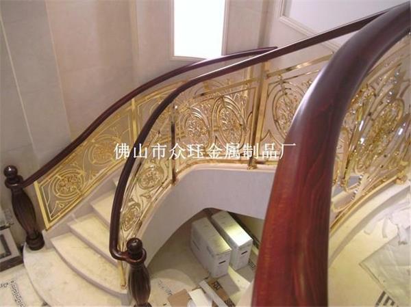 新款铝艺楼梯欧式铝雕花k金护栏
