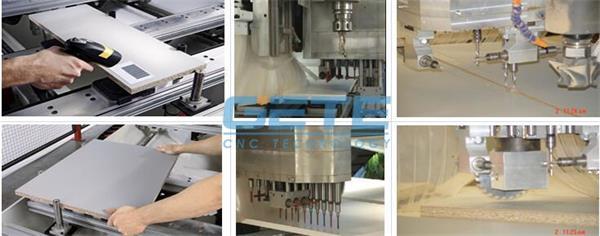 双柱排钻加工中心(板式家具五面孔数控加工设备)图片