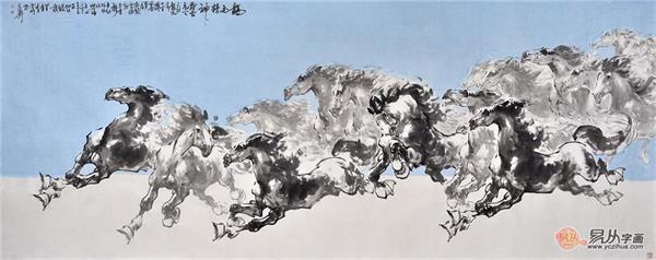 国画骏马图 陈云鹏写意动物画作品《龙马精神》