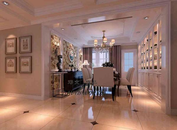 西安龙发装饰装修案例:海德堡250平简欧风格效果图图片