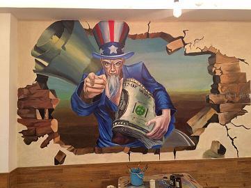 温州墙绘手绘墙油画壁画彩绘公司 温州曲风墙绘工作室 >> qfhuahua