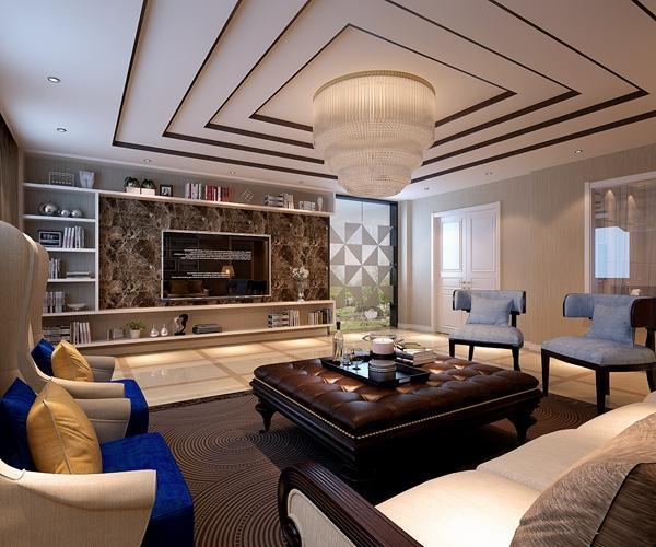西安龙发装饰案例:天鹅堡254平后现代风格装修效果图