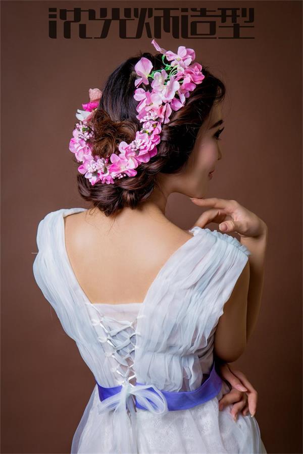 【沈炳光造型】简约扎发.编发鲜花新娘发型欣赏.化妆造型学校