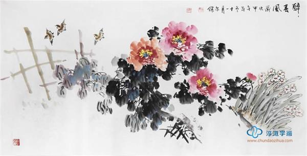 国画牡丹对家庭风水的影响----淳道字画