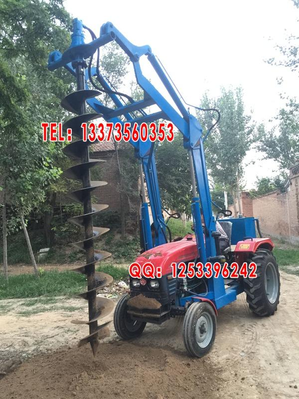 旧拖拉机改装打桩机 电线杆钻孔机租赁 拖拉机挖坑机图片