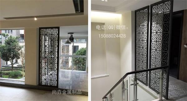 不锈钢激光切割屏风效果图,复试别墅内下层客厅,二层楼梯口对出的地