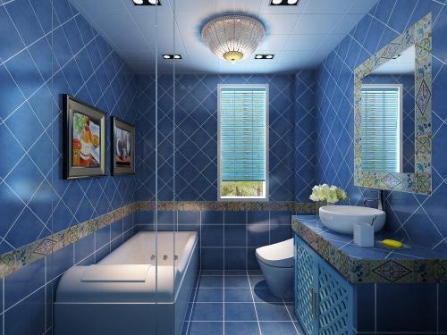 卫生洁具多数选择为白色,在与浅蓝色的墙壁搭配起来,使得极强的透视感