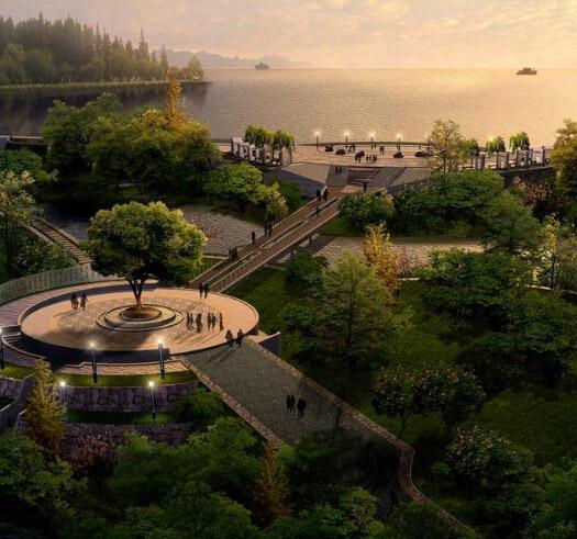 城镇小路风景图