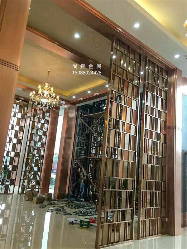 五星级酒店大厅隔断屏风|不锈钢屏风装饰效果