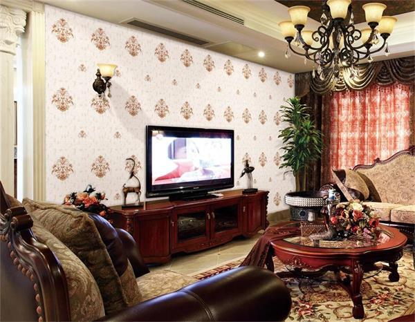 复古美式乡村无缝3d立体田园卧室刺绣墙布 客餐厅背景ab壁布